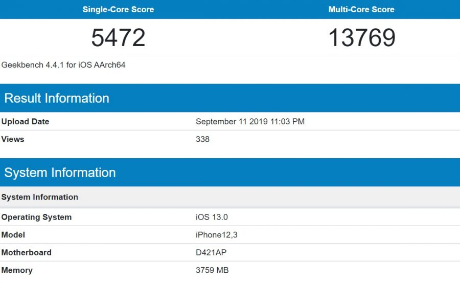 Apple A13 Geekbench